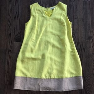 Linen bright yellow lined dress 18